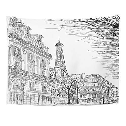 Emvency Tapestry 60 x 50 Inches City Paris Ssketch Parisian Street Trees Eiffel Tower in Sketch Scape Building Wall Hanging Art Home Decor Tapestries Bedroom Dorm Living Room