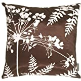 "Pillow Decor - Brown with White Spring Flower and Ferns 20"" x 20"" Decorative ..."