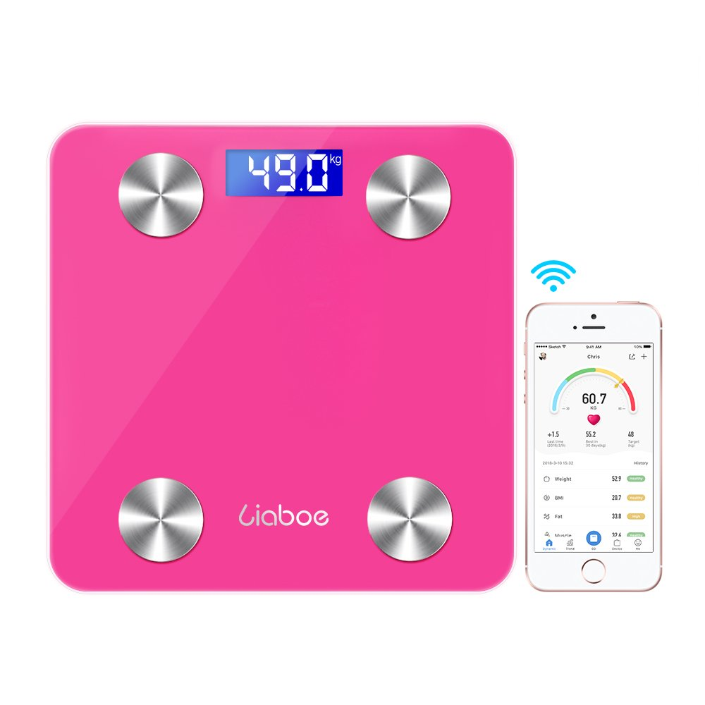 Body Fat Scale - Liaboe Smart Digital Body Scale with iOS and Android APP for Measuring Weight, Body Composition Analyzer, Pink