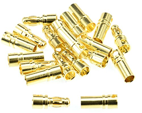 Apex RC Products 3.5mm Male/Female Gold Plated Bullet Connectors Plugs - 10 Pair #1102 ()