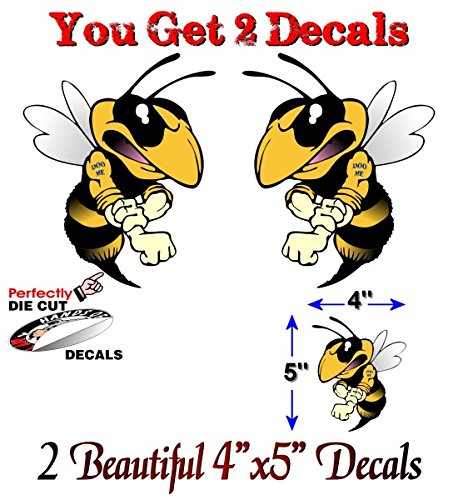 2 Flamin Bee 5 Vinyl Decals Snowmobile Sled Fighting Bee Stickers
