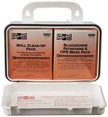 Pac-Kit by First Aid Only 3065 28 Piece Small Industrial Blood Borne Pathogens/CPR Kit in Weatherproof Plastic Case from Pac-Kit