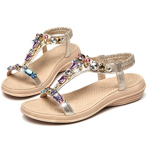 Sandalias Impermeable Inferior Cómodos Zapatos Femenina Oro De Antideslizante Verano Blanda Diamante rcYnt1wrq