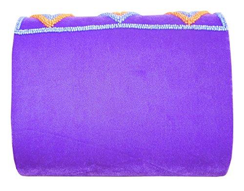 Spice Art Grande frizione in velluto viola ricamato da donna