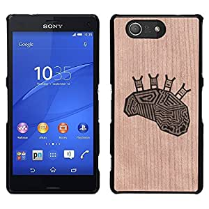 - Brain Happy Funny Deep Image Smart - - Funda Delgada Cubierta Case Cover de Madera FOR Sony Xperia m55w Z3 Compact MiniSony Xperia m55w Z3 Compact Mini BullDog Case
