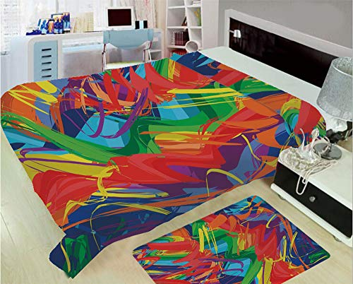 3D Printed Throw Blanket Custom Design Floor Mat Carpet Rug,Colored Modern Art Hand Drawn Brush Marks Free,Well Keep Warm with Supersoft Hand Feeling,add a lot of Color to Your Life
