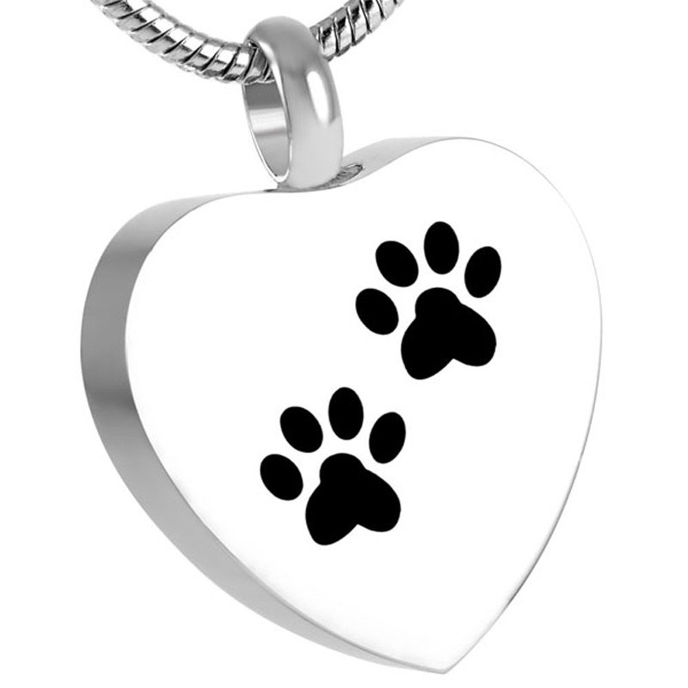 Double Paw Print On My Heart Urn Necklace Pet Cremation Jewelry Keepsakes For Ashes + Fill Kits