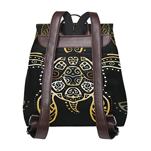 Kvinnor PU-läder havssköldpadda ryggsäck handväska resa skola axelväska ledig dagväska