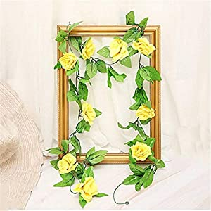 HY 8 Feet Pack of 2PCS Artificial Fake Silk Rose Flower Ivy Vine Hanging Wedding Décor Party Home Garden Supermarket Decoration 8 Colors 3