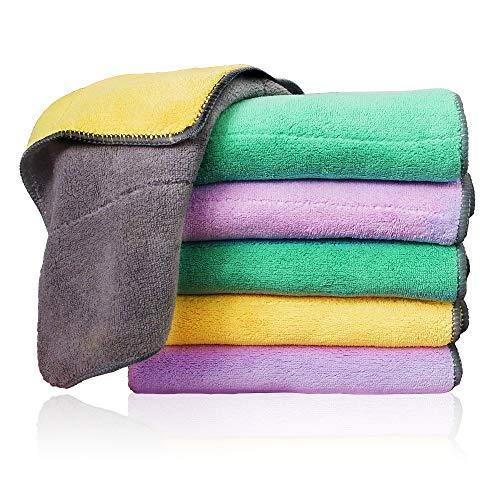 6 paños de limpieza de microfibra extra gruesos con 3 colores brillantes, paños de polvo súper absorbentes Paños de pulido con dos colores en dos lados, para cocina, automóvil