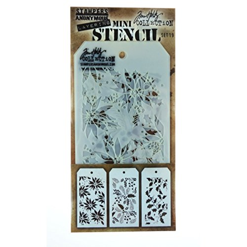 Stampers Anonymous MTS019 Tim Holtz Mini Layered Stencil Set,, Confezione da 3 Art Gone Wild AGMST019
