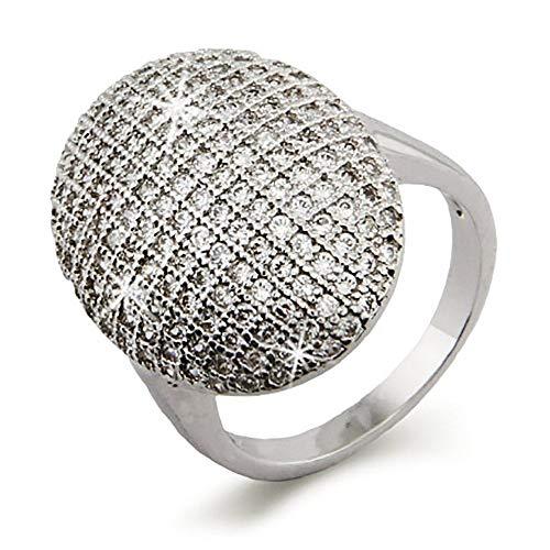 Eve's Addiction Vampire Inspired Glistening Round Shaped CZ Engagement Ring, Sizes 5 to 10 (Vampire Engagement Ring)