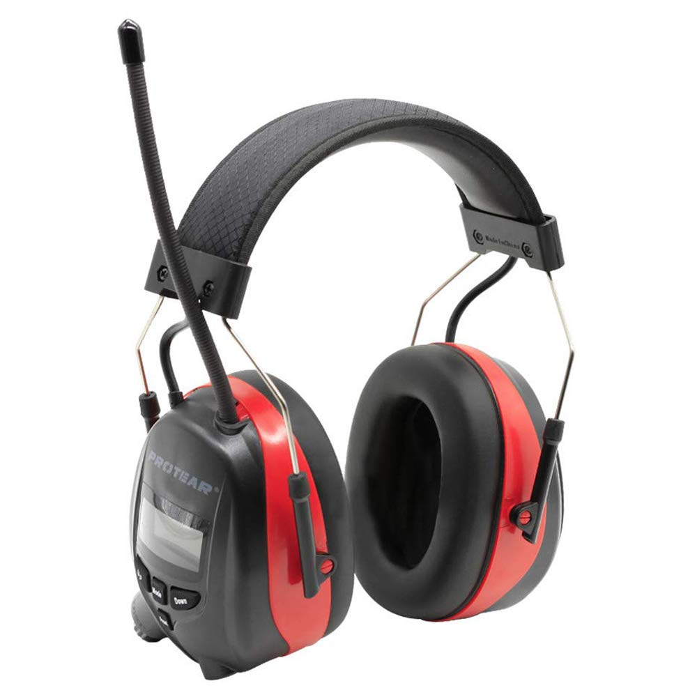 PROTEAR Bluetooth Radio Headphones Wireless Cancelling Hearing Protection, Noise Reduction NRR 25dB Safety Ear Muffs Rechargeable 1200 mAh Lithium Battery Ear Protector for Lawn Mowing Work by PROTEAR