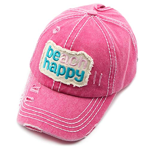 (C.C Exclusives Hatsandscarf Washed Distressed Cotton Denim Ponytail Hat Adjustable Baseball Cap (BT-762) (Hot Pink, Beach Happy))