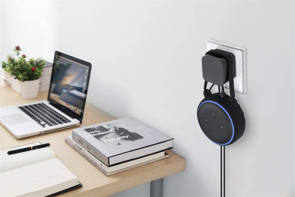 A Space-Saving Solution for Your Smart Home Speakers Without Messy Wires or Screws Black for Echo Dot 3rd Generation Smart Spreaker Outlet Wall Mount