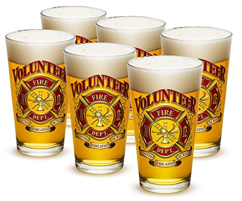 Pint Glasses – Firefighter Gifts for Men or Women – Volunteer Firefighter Beer Glassware – Beer Glasses with Logo - Set of 24 (16 Oz) by Erazor Bits