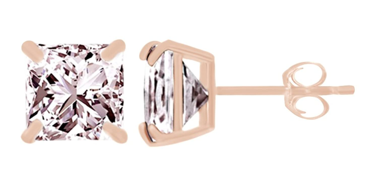 cheap Princess Cut Simulated Pink Sapphire Stud Earrings In 10K Solid Gold supplies