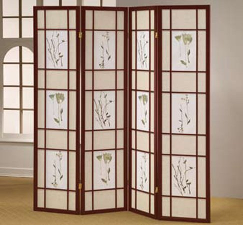 ORE International R5443-4 Four Panel Shoji Screen Cherry Finish