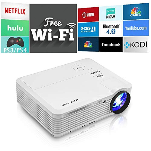 Bluetooth Wireless Smart HD Projector WiFi, Video Projector 4600 Lumen 1280×800 Native Home Theater Android LCD LED Projectors HDMI USB Aux Audio VGA, Home Cinema Game Consoles APPs Outdoor Movies