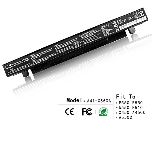 ZWXJ Laptop Battery A41-X550A (4-cell 44Wh 3070mAh 14.4V) for ASUS X550 X550 A450 P550 F550 k550 R510 X450 A450C A550C X550A X550B X550D A41-X550 (Notebook Laptop Battery Pack)