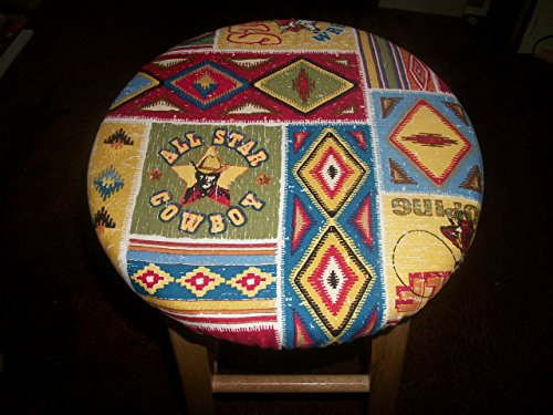 13'' Reversible Kitchen Bar Stool Slip Cover Cowboy Horse Southwest to Flowers by Your Sewingroom