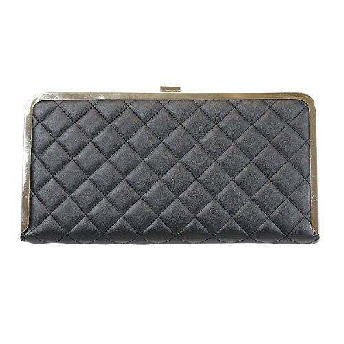 with Rhinestone Gold Long Clutch Border Tone Inches Quilted Evening 11 Black Box HqIpX