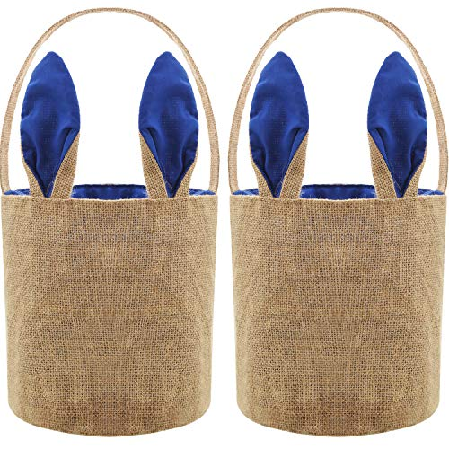 - Blulu 2 Pieces Easter Egg Basket Bunny Burlap Bag Easter Handbag for Carrying Eggs Candies and Gifts (Dark Blue)