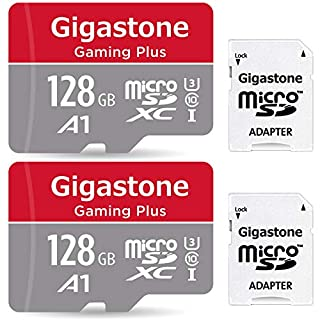 Gigastone 128GB 2-Pack Micro SD Card with Adapter, Gaming, A1, U1 C10 Class 10 100MB/s, Full HD available, Micro SDXC UHS-I Memory Card