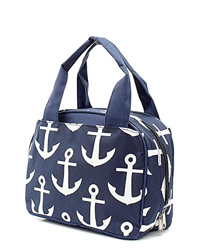 Navy Blue Nautical Anchor Print Canvas Small Insulated Lunch Tote Bag by Handbag Inc (Image #1)