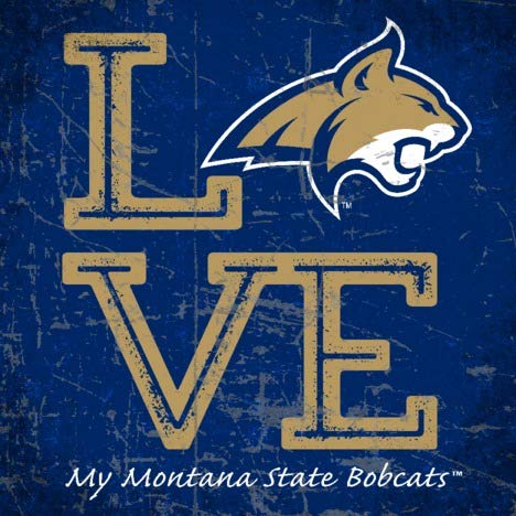 Prints Charming College Love My Team Logo Square Color Montana State Fighting Bobcats Unframed Poster 12x12 (Montana Logo Square)