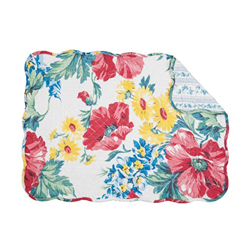 (C&F Home Camila Red Blue Yellow Floral Flower Bouquet Place Mats Rectangular Cotton Quilted Reversible Washable Placemat Set of 6 Rectangular Placemat Set of 6 Red )
