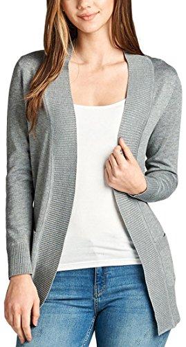 ToBeInStyle Women's L.S. Rib Banded Open Sweater Cardigan - NHGrey - Medium