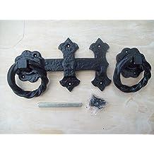 IRONMONGERY WORLD BLACK ANTIQUE CAST IRON FANCY TWISTED GARDEN GATE DOOR RING LATCH HANDLES SET by Ironmongery World