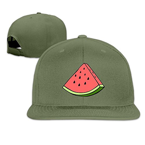 LINNA Custom Unisex Cute Simple Fruit Watermelon Adjustable Hiphop Cap Hat ForestGreen