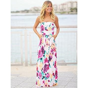 Ruanyi Vestido de playa de verano, sin tirantes estampado floral azul vestido maxi de color