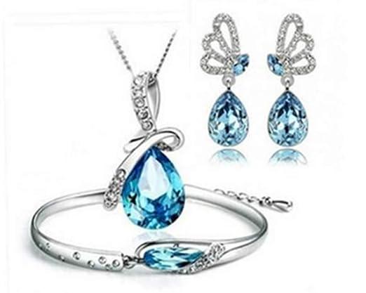 Emorias 1 Set Juegos de Joyas Crystal Angel Lágrimas Elegante Collar Pendientes Pulsera Mujeres Joyería Accesorios de Boda - Azul