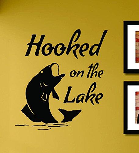 - Hooked on the lake Fishing Bass Fish Vinyl Wall Art Decal Sticker