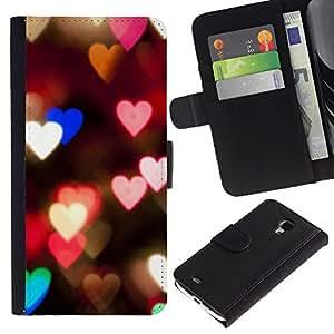 iBinBang / Flip Funda de Cuero Case Cover - Corazones Luces Rosa Noche trullo Desenfoque Amor - Samsung Galaxy S4 Mini i9190 MINI VERSION!