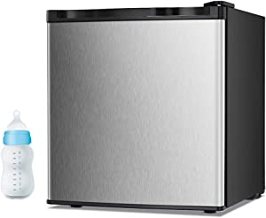 Joy Pebble Free Standing Upright Freezer with Removable Shelf, Adjustalbe Thermostat, Compact Reversible Single Door Vertical Freezers for Home/Hotel/Dorm/Office or Bar (1.1 cu.ft, Silver)