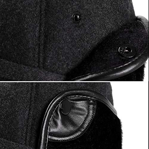 YOYEAH Winter Wool Baseball Cap Outdoor Windproof Fleece Earflap Hat Soft Faux Fur Hunting Hat for Men Black by YOYEAH (Image #4)