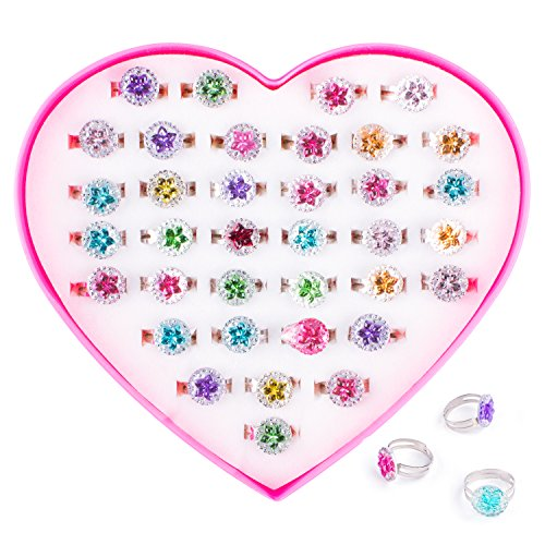 Colorful Assorted Gem Star Rhinestone Adjustable Rings with Heart Shape Display Case for Party Favors, Bridal Shower, Birthday, Adult & Children Size (36 -