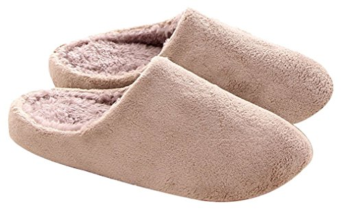 Blubi Womens Solid Skid-proof Flurry Slippers Comfy Plush Slippers Cream o84mTDS