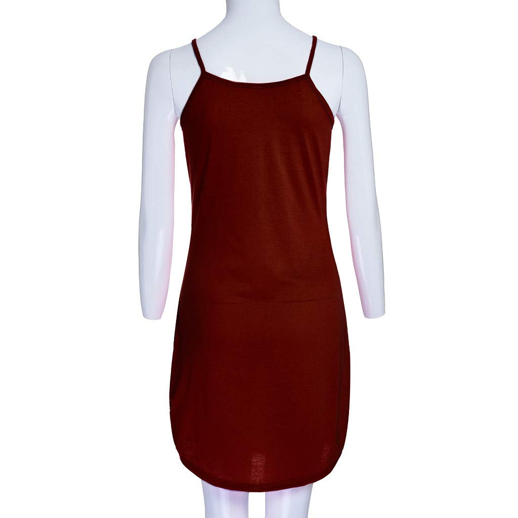 ZEFOTIM ✿ Fashion Casual Dress for Women Crew Neck Asymmetric Hem Plain Sleeveless Dresses(WineRed,X-Large) by ZEFOTIM (Image #3)