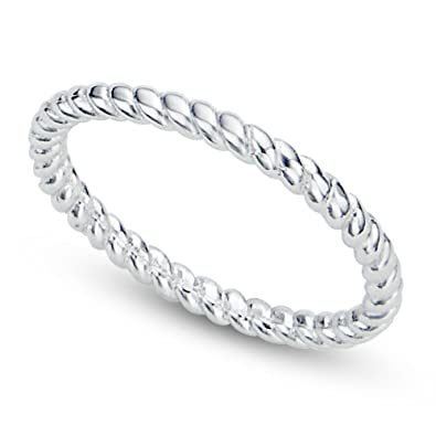Amazoncom 925 Sterling Silver 2MM Eternity Rope Wedding Band Ring
