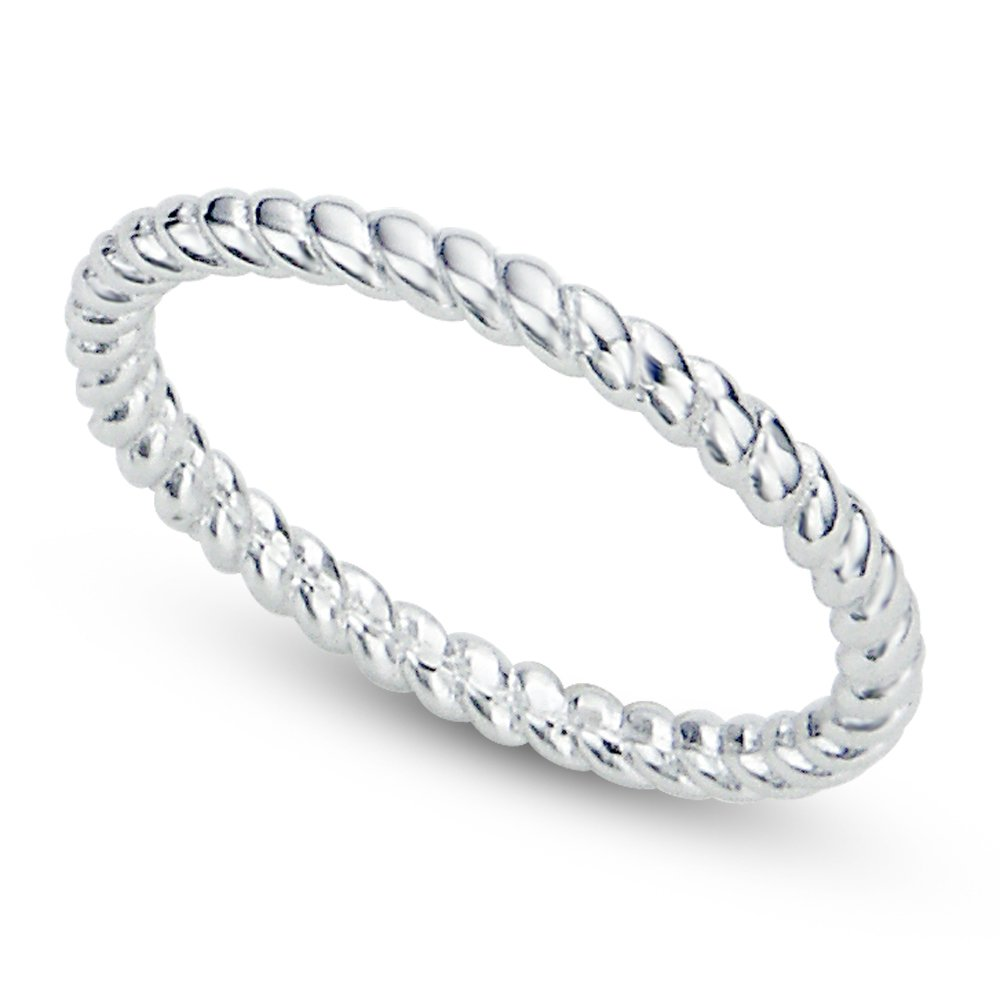 Sz 9 Sterling Silver 2MM Eternity Rope Wedding Band Ring