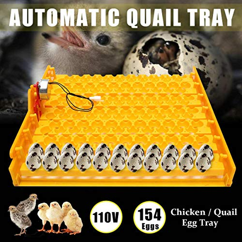 110V Automatic Incubator 154 Quail Eggs Tray Turner Chicken Hatch Poultry Bird For Farm Animals Hatcher Incubation Tools Supplie (Yellow, 42x43x5cm)