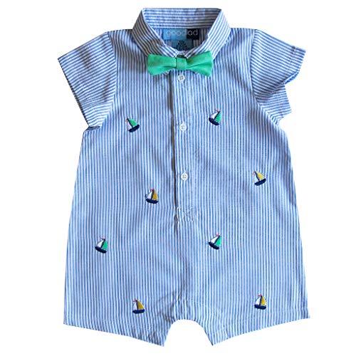 Good Lad Newborn/Infant Boys Blue Seersucker Onsie with Nautical Embroideries - Seersucker Blue Baby