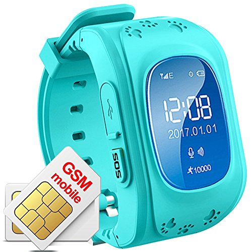 JUNEO GPS Smart Watch Tracker Kids /Elderly with Anti-lost, Pedometer,SOS,Dual Way Call with SIM Card Slot Remote Monitor Watches for Samsung,Android,Iphone Fast Ship from USAwithout SIM card) (Blue)