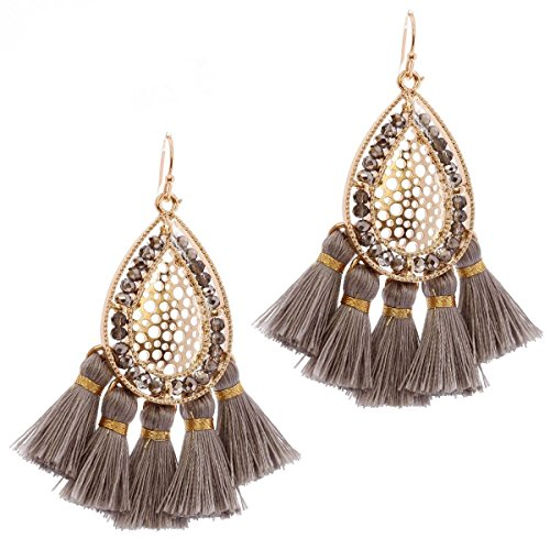Gold Tone Metal Earrings (Women's Teadrop Metal Filigree Short Tassel Dangle Pierced Earrings, Hematite-Tone/Gold-Tone)