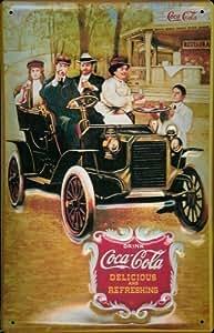 Coca Cola Antiguo Car Letrero De Metal Placa De Metal De Hoja Muestra De La Lata 20 x 30 cm